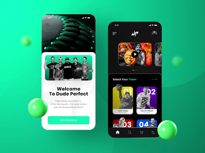 Dude Perfect App design gif concept app animation youtube mobile app dark ui 3d cards ui players dudeperfect design uidesign ui uiux