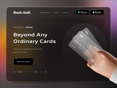 Landing Page : Bank Audi homepage dribble shot dark ui design web website webpagedesign webpage uiux cards glassmorphism landingpage landing ui design ui