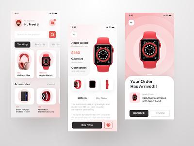 Apple Product Store App design airpods app appuiux product design colors minimal trending trends ecommerce app apple apple watch ecommerce uidesign ui uiux