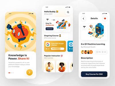 Thinkific App Design clean minimal trends app interface mobile apps ios appdesign playoff branding figma rebound vector animation design ui uiux uidesign