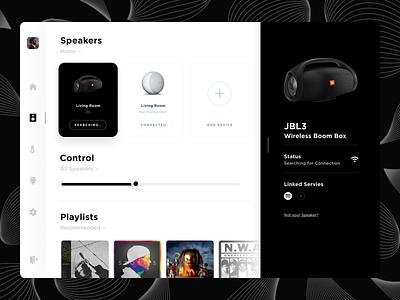 Smart Home Dashboard smarthome audio jbl speakers minimal desktop dashboad ux ui flat design clean