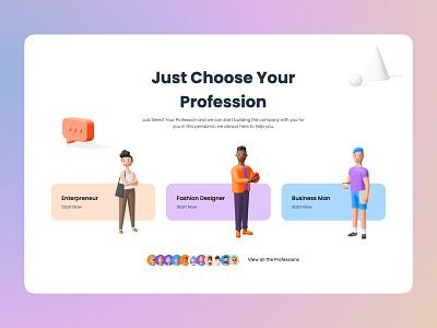 Choose Your Profession clean ui amptus ui strap trime ux branding 3d art 3d object illustration design
