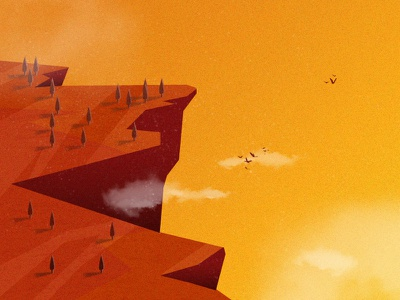 Cliff afternoon western illustration