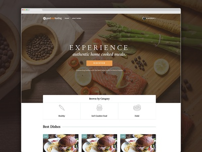 Good Meal Hunting Landing Page cook cooking authentic site homecook homemade ux ui website food
