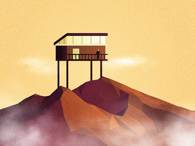 Mountain Top low poly polygons home house texture 3d mountain