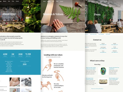 New About Etsy Pages website design pages web layout rwd responsive