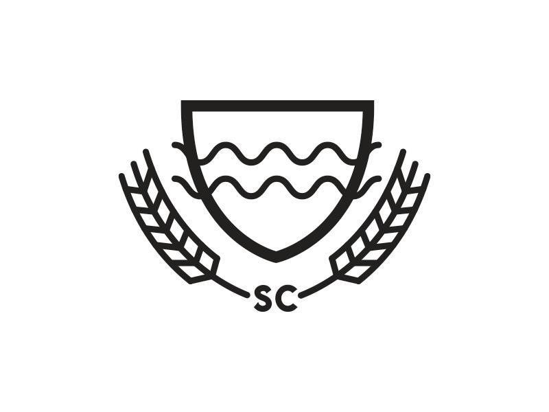 logo river water beer barley crest seal badge mark logo