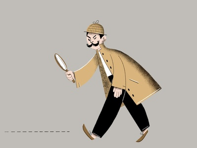 Detective flat illustration procreate art detective minimalistic design flatillustration flatdesign 2d character character digital2d characterdesign illustration