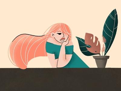Ginger flat illustration flowers illustration digital2d flatillustration flatdesign ginger noisy characterdesign illustration