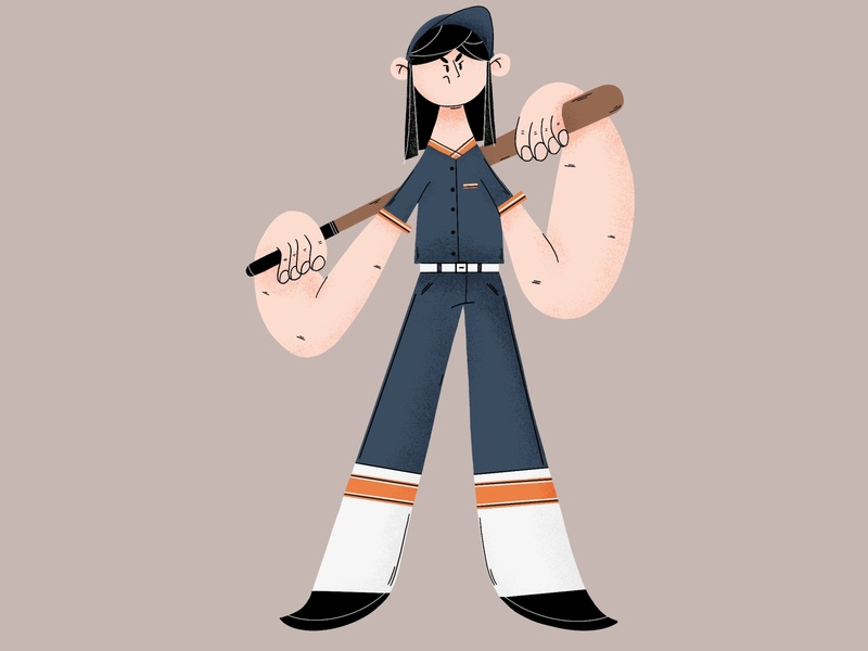 Baseball girl flat design art baseball flatdesign flat illustration digital painting procreate art character digital2d characterdesign illustration