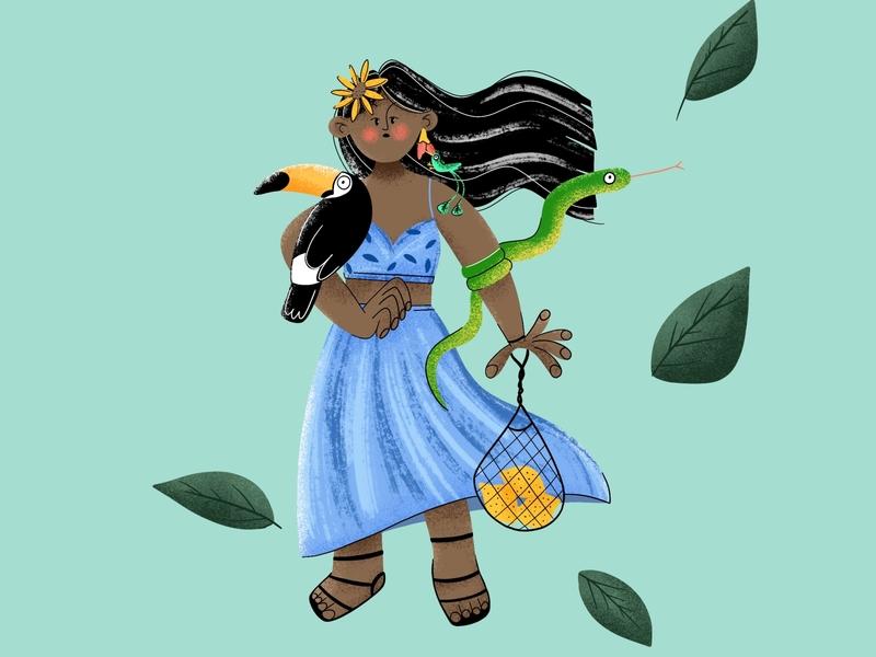 Exotic vibes flat illustration exotic colorful procreate art art girl flatdesign flat illustration digital painting 2d character digital2d characterdesign illustration