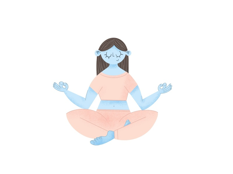 Zen flat style illustration yoga meditation art girl flatdesign flat illustration characterart procreate art 2d character digital painting characterdesign digital2d illustration