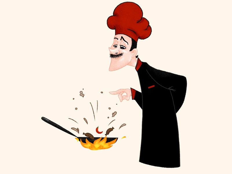 Chef illustration sausages ipadpro chef cooking characterart procreate art 2d character characterdesign digital painting illustration