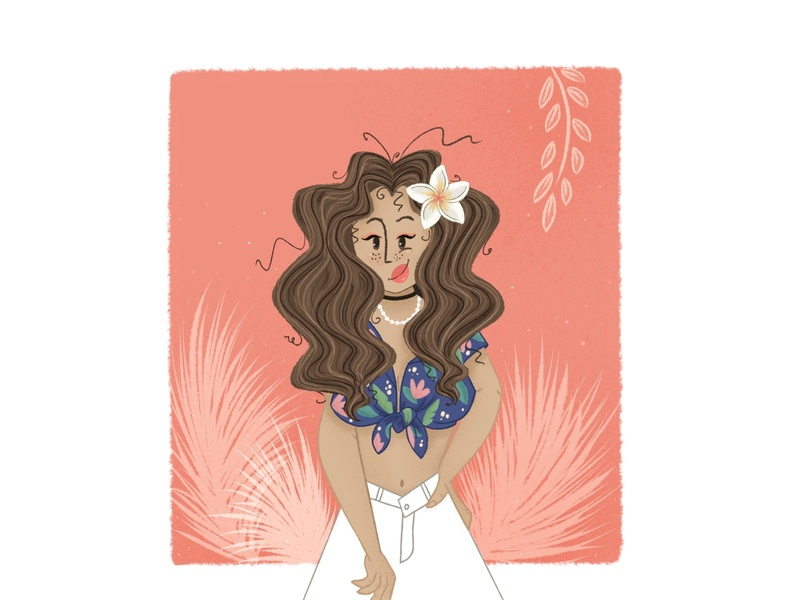 Summer vibes hawaii summertime art girl characterart procreate art 2d character digital2d digital painting characterdesign illustration