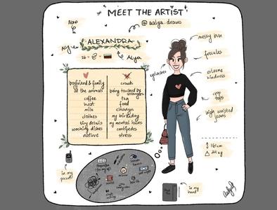 Meet the artist digitalart digital illustration art procreate art meetme girl 2d character digital painting characterdesign illustration