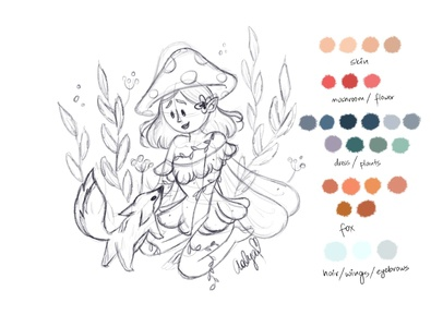 Sketch of forest fairy fairy fox digital art digital illustration character procreate sketching art dtiys girl digital2d characterdesign illustration