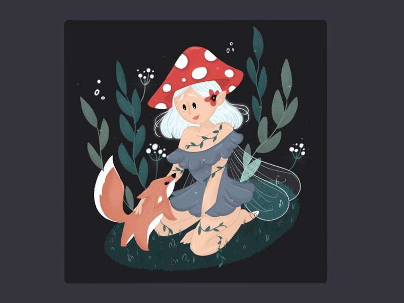 Mushroom girl with the little fox procreateillustration drawingart drawing art forest fairy magical childrens illustration girl procreate art 2d character digital painting digital2d characterdesign illustration