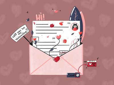 Valentine save the date dribbbleweeklywarmup minimal clean dribbblers card letter valentinesday valentine designart 2d art design procreate art digital painting flat illustration love flatdesign illustration weeklywarmup
