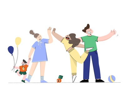 Hey 👋 hero illustration landing page happiness graphic style love character minimal art toys kid family friends web illustration inspiration clean graphic art flatdesign flat illustration characterdesign digital2d illustration
