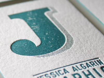 Identity Set  grunge white jessica typography type letterpress texture logo business card identity color edging j lines teal