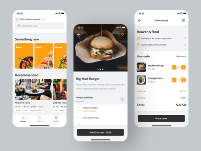 Food app concept 😋 app ux product design minimal food delivery app food delivery food and drink food app food design ui