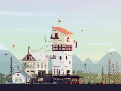 Celebration pixel arts pixel art illustration game sunset house festive pixel