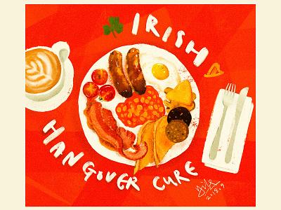 Irish Hangover Cure hangover pudding coffee bacon eggs sausages food irish breakfast apple pencil procreate illustration