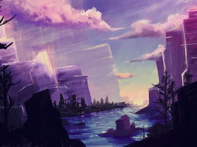 Canyon sci-fi light water cliffs clouds canyon purple sun rise procreate apple pencil drawing illustration