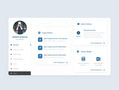 Sobat Siswa Admin flat app ui web design