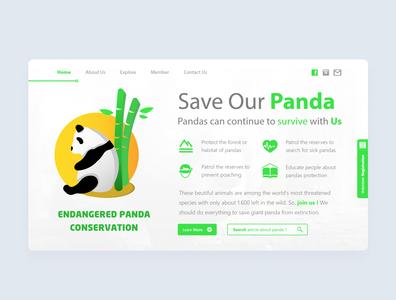Save Our Panda illustration web ui design
