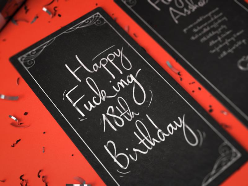Invitation #2 hand lettering invitation red dark confetti mockup