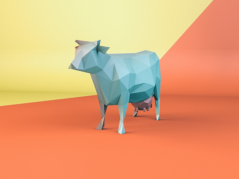 Cow cow c4d modeling low poly