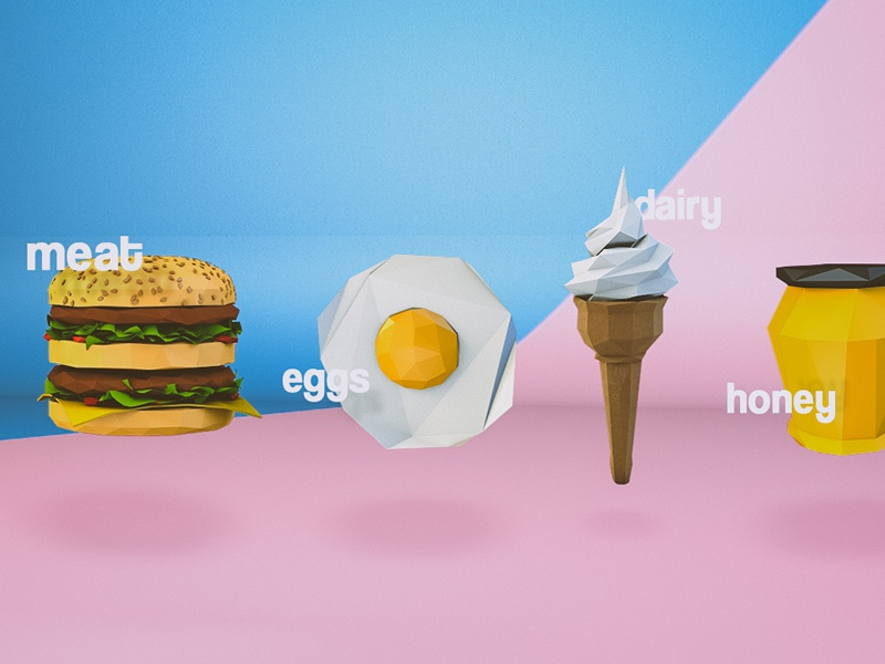 Low poly Motion Styleframes - Vegans vegan low poly c4d render cute food icons