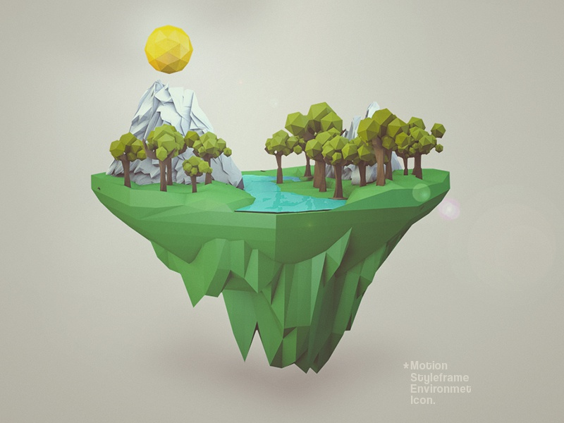 Environment Icon earth vegan low poly terrain c4d motion styleframe