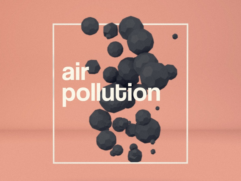 Air Pollution Icon motion c4d 3d icon render