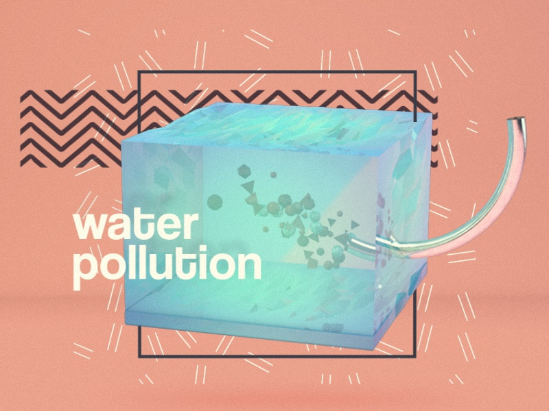 Water Pollution motion c4d 3d render low poly