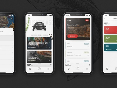 Weber — Connect App ios app design food bbq grilling app illustration interface layout digital minimal clean ux ui design