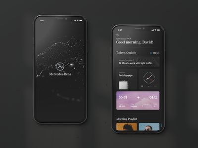Mercedes Ecosystem — Dashboard mobile mercedes mobile ui particles automotive tiles clean luxury travel interface ux ui dashboard