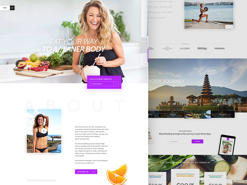 The Lean Body Coach fresh modern food health travel clean website design