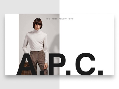 A.P.C. Webstore design minimal typography digital website photography ux ui luxury clean fashion