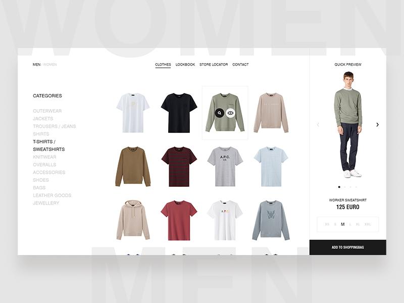 A.P.C. Webstore design minimal fashion clean ecommerce ui ux photography website shop typography
