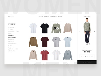 A.P.C. Webstore design minimal fashion clean ecommerce ui ux photography website shop typography