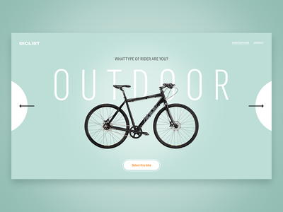 BICLIST - City Rides sport bicycle photography ux ui minimal clean design website
