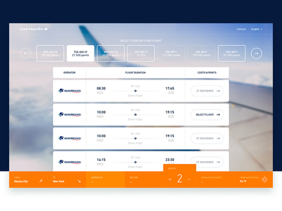 Aeromexico's Club Premier - Frequent Flyer Program ticket booking flying ux ui travel minimal clean design website