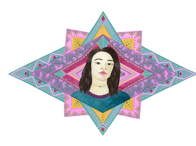 Colourful Geometric Portrait of a Woman