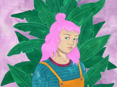 Pink Hair Jungle Portrait