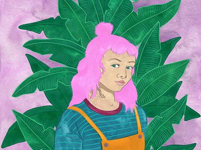 Pink Hair Jungle Portrait pinkhair portrait