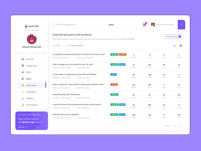 Spendo App Dashboard messaging message inbox purple dashboard design dashboard app dashboard ui dashboad webdesign design