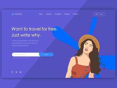 Travel Free Design web ux webdesign website illustration branding vector ui hero section hero image hero banner adobe design