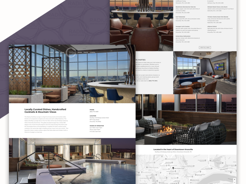 Radius Rooftop Lounge / Knoxville, TN - Website Design